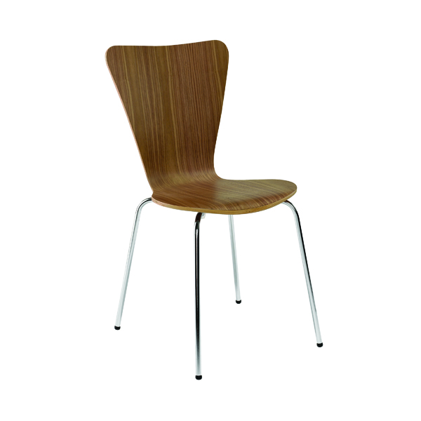 Arista Walnut/Chrome Wooden Bistro Chair (Pack of 4)
