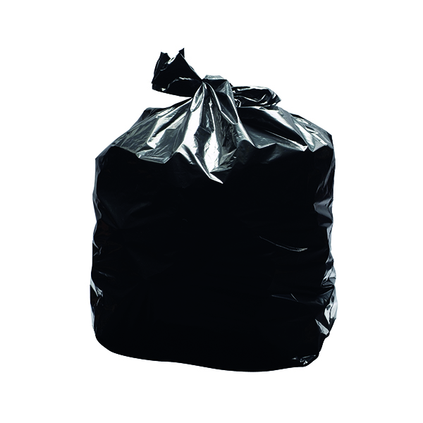 2Work Light Duty Refuse Sack Black (Pack of 200)