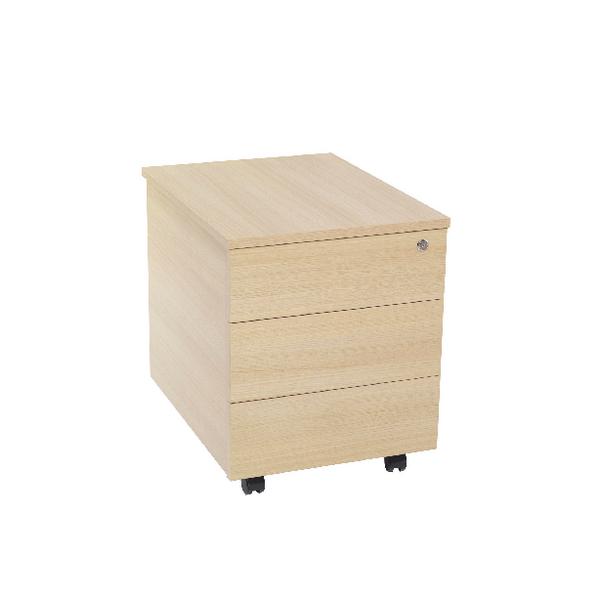 Serrion Warm Maple 3 Drawer Mobile Pedestal