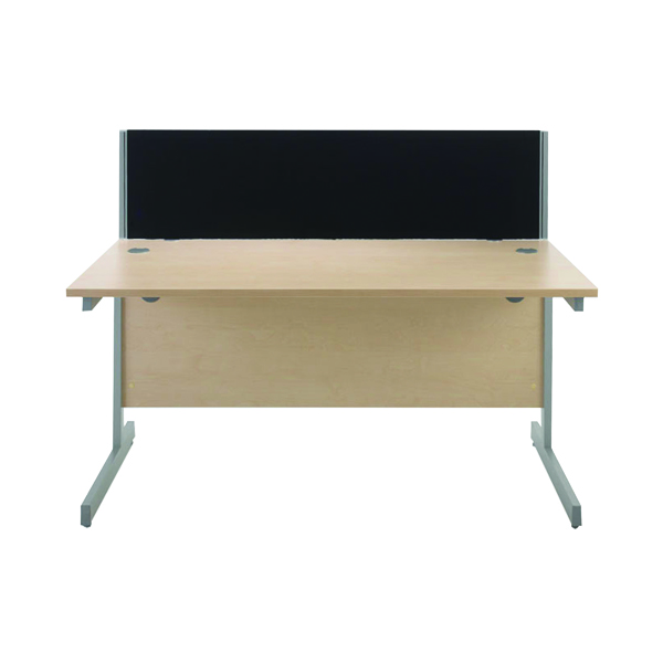 Jemini Black 1200mm Straight Desk Screen (Each screen comes with a pair of clamps)