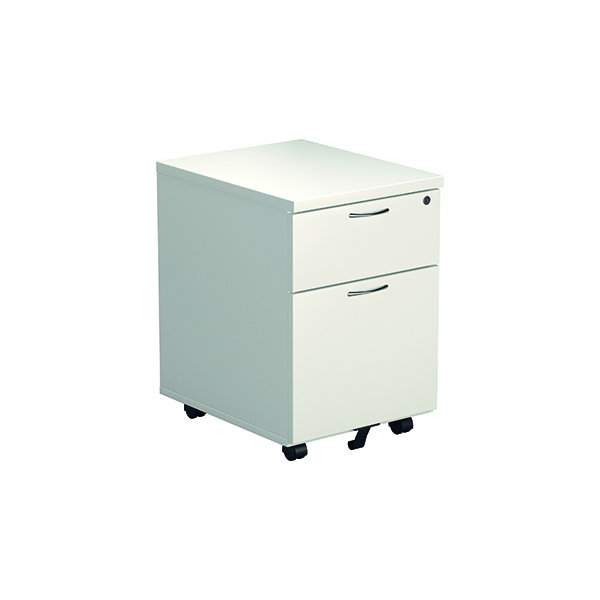Jemini White 2 Drawer Mobile Pedestal