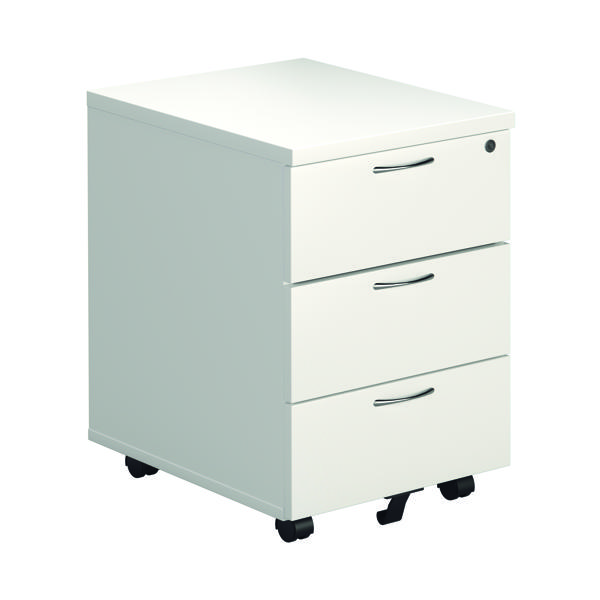 Jemini White 3 Drawer Mobile Pedestal