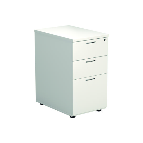 Jemini 3 Drawer Desk High Pedestal W400xD600xH730mm White