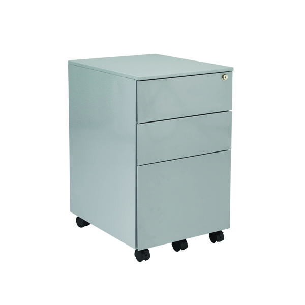 Jemini Silver Mobile Steel 3 Drawer Pedestal