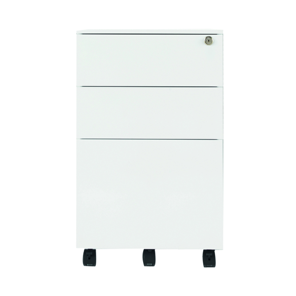 Jemini White Mobile Steel 3 Drawer Pedestal