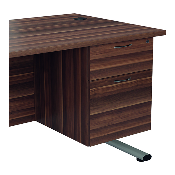 Jemini 655 Fixed Pedestal 2 Drawer Dark Walnut