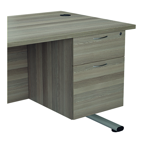 Jemini 655 Fixed Pedestal 2 Drawer Grey Oak
