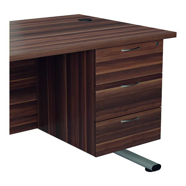 Jemini 655 Fixed Pedestal 3 Drawer Dark Walnut