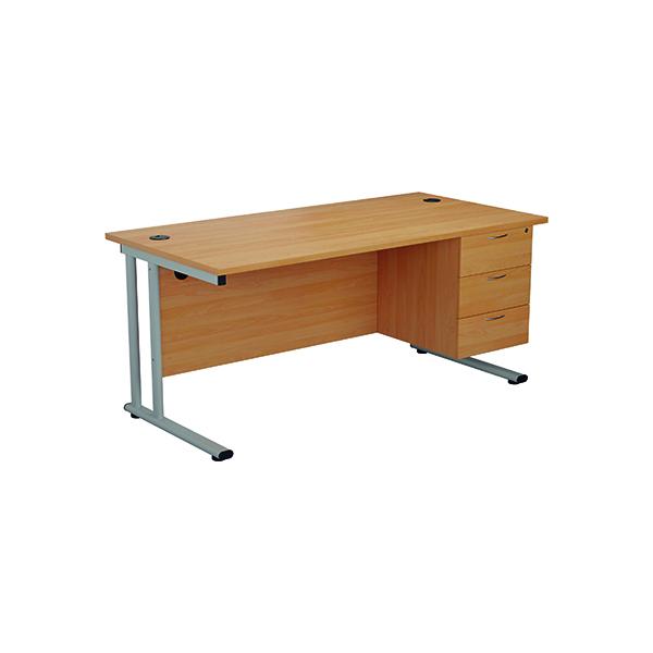 Jemini 655 Fixed Pedestal 3 Drawer Grey Oak