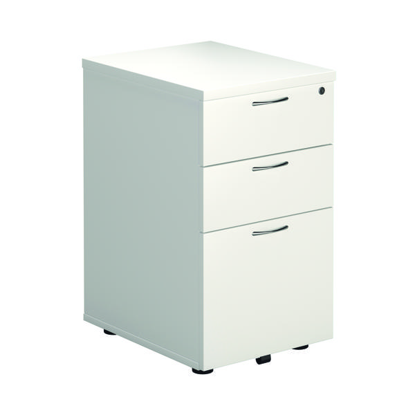 First Tall Under Desk Pedestal 3 Drawer White