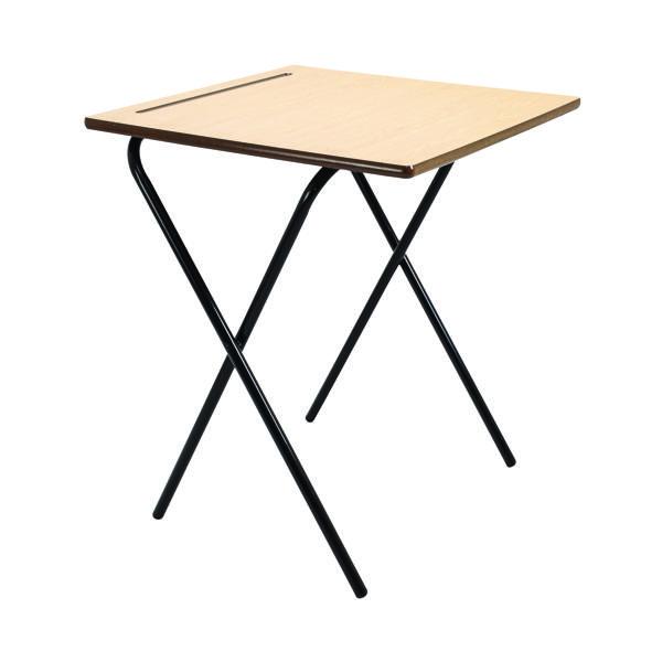 Titan Folding Exam Desk MDF Beech (W600 x D600 x H720mm)