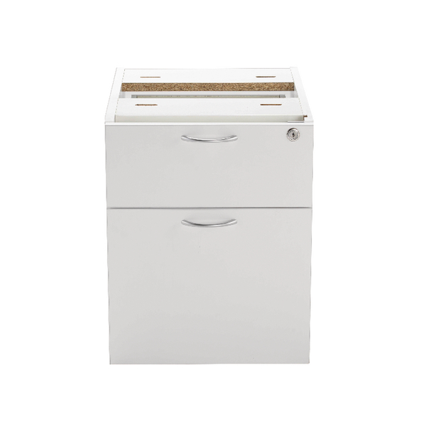 Jemini White 2 Drawer Fixed Pedestal