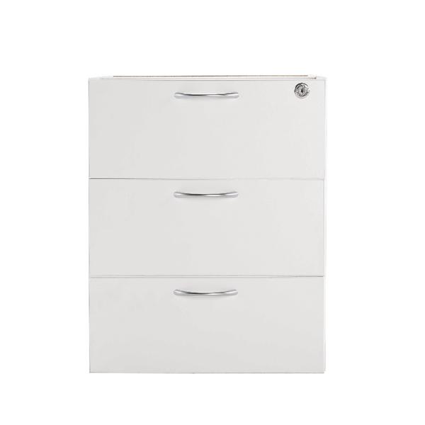Jemini White 3 Drawer Fixed Pedestal