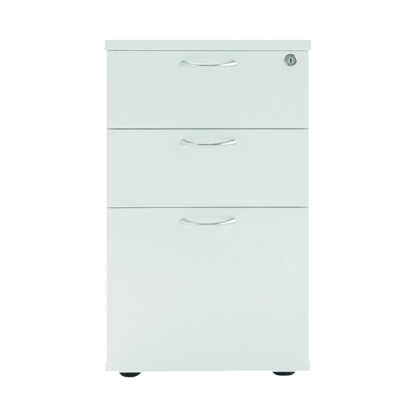 Jemini White 3 Drawer Under-Desk Pedestal W404 x D500 x H690mm