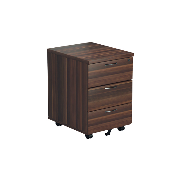 Jemini Walnut 3 Drawer Mobile Pedestal