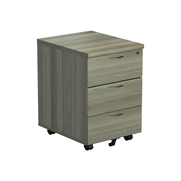 Jemini Grey Oak 3 Drawer Mobile Pedestal (Dimensions: W404 x D500 x H595mm)