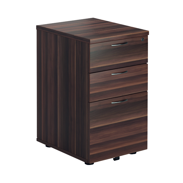 FF Jemini Walnut 3 Drawer Tall Mobile Pedestal