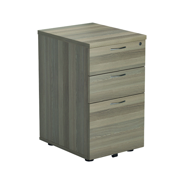 Jemini Grey Oak 3 Drawer Tall Mobile Pedestal