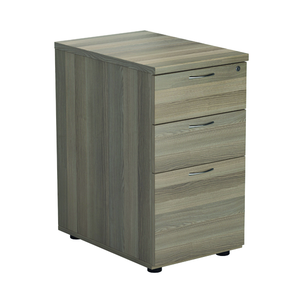 Jemini Grey Oak 3 Drawer Desk High Pedestal D600 KF78949