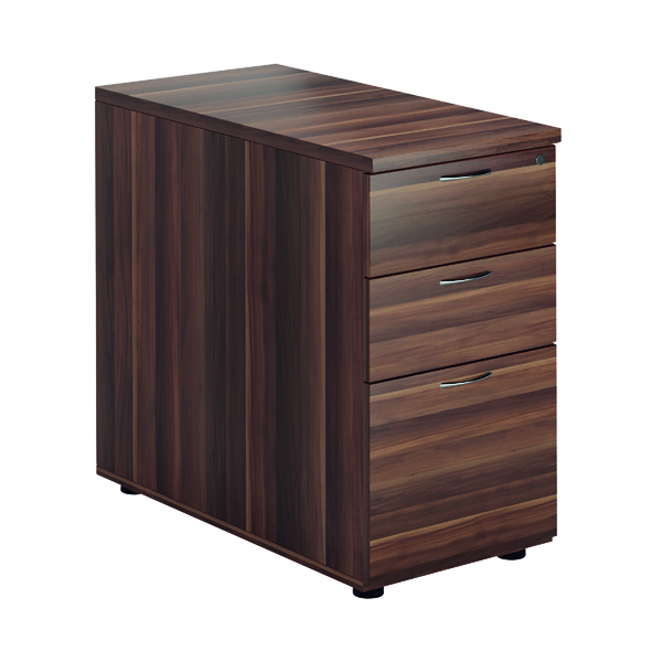 Jemini Walnut 3 Drawer Desk High Pedestal D800