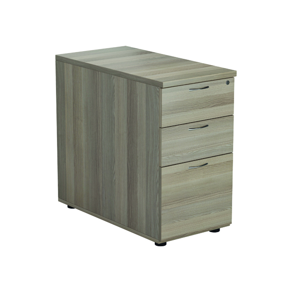 Jemini Grey Oak 3 Drawer Desk High Pedestal D800