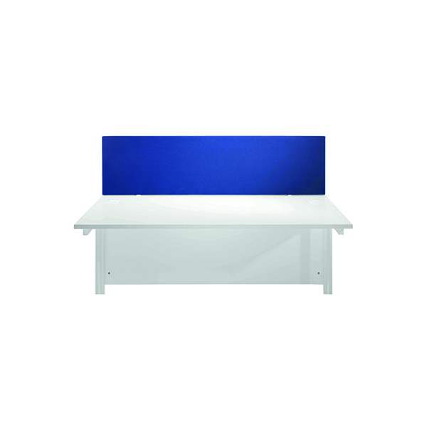 Jemini Blue 1600mm Straight Desk Screen (Dimensions: 1600mm x 28mm x 400mm)