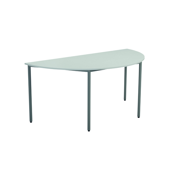 Jemini White Semi Circular Table (Dimensions: W1600 x D800 x H730mm )