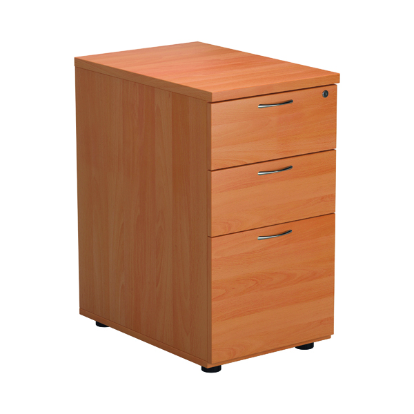Jemini Beech 3 Drawer Desk High Pedestal 600 Version 2