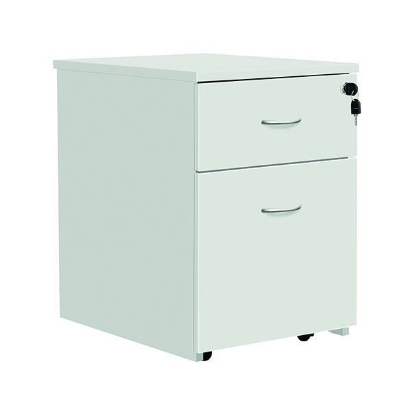 Serrion Eco 18 2 Drawer Mobile Pedestal White