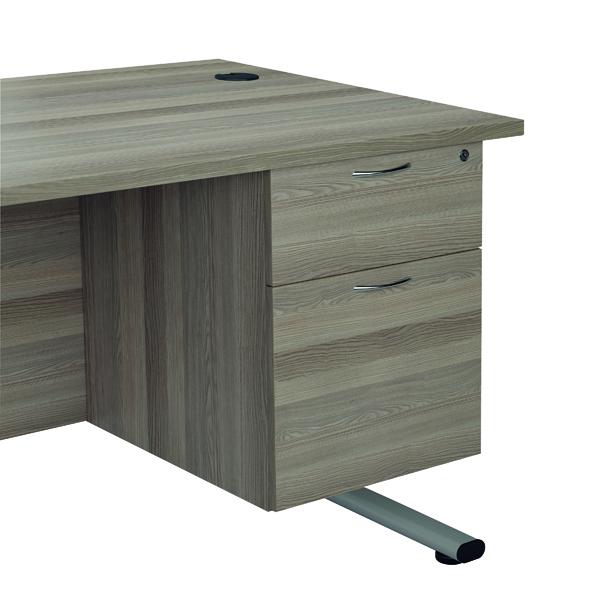 Jemini Grey Oak 2 Drawer Fixed Pedestal TESHP2GO