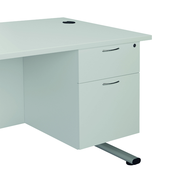 Jemini White 2 Drawer Fixed Pedestal 2 Drawer