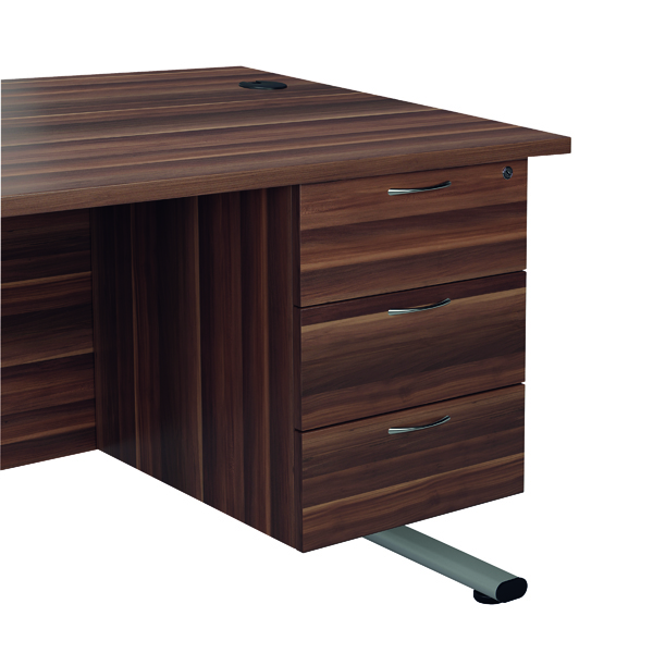 Jemini Dark Walnut 3 Drawer Fixed Pedestal