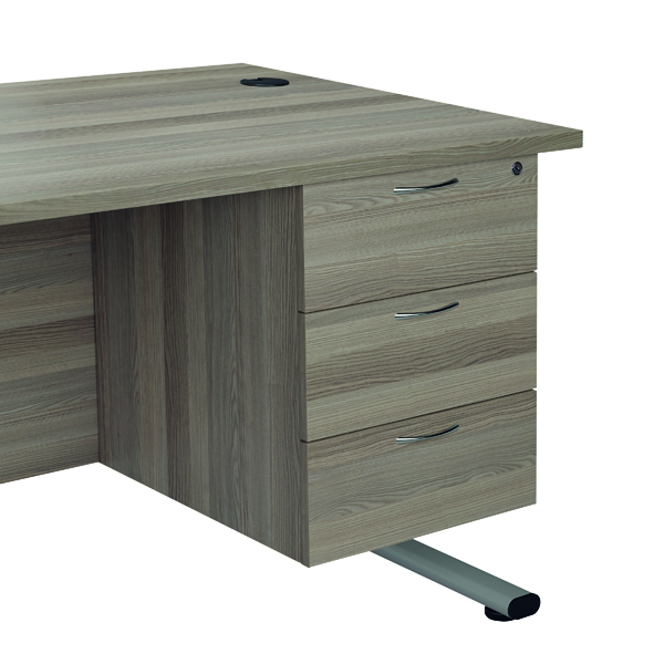 Jemini Grey Oak 3 Drawer Fixed Pedestal