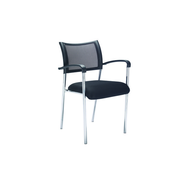 Jemini Jupiter Mesh Back Conference 4 Leg Armchair W/Chrome Frame