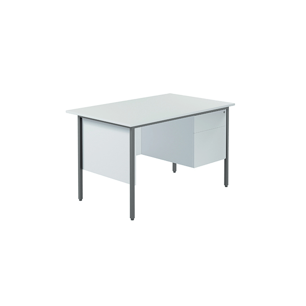 Serrion 4 Leg Desk 1200mm with 2 Drawer Pedestal White