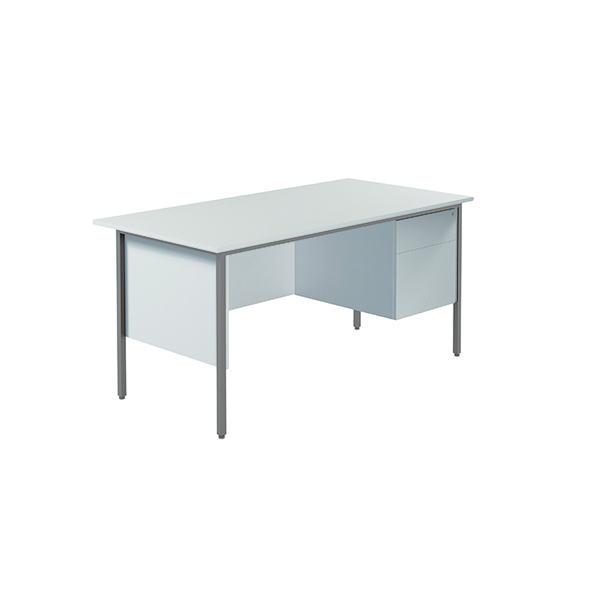 Serrion 4 Leg Desk 1500mm with 2 Drawer Pedestal White