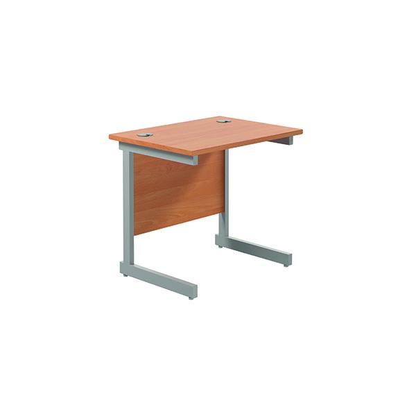Jemini Single Rectangular Desk 800x600mm Beech/Silver