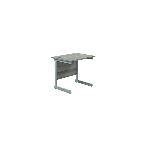 Jemini Single Rectangular Desk 800x600mm Grey Oak/Silver