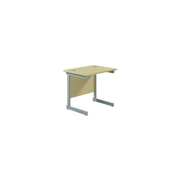Jemini Single Rectangular Desk 800x600mm Maple/Silver
