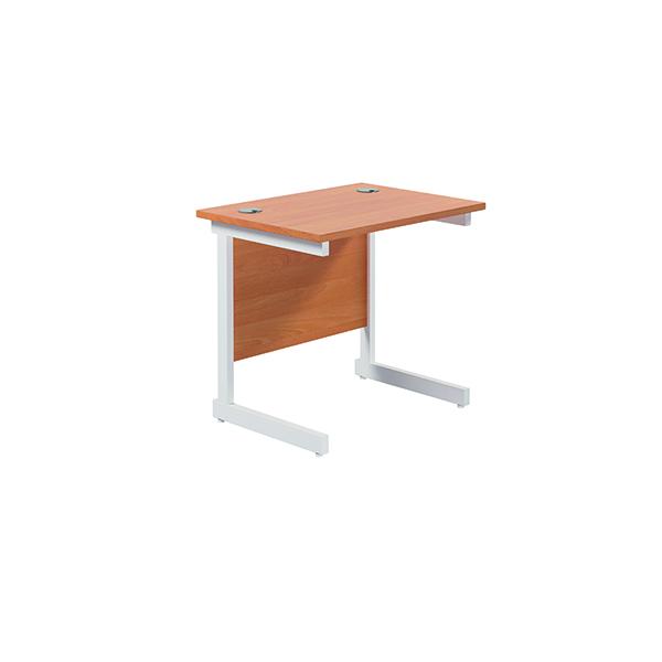 Jemini Single Rectangular Desk 800x600mm Beech/White