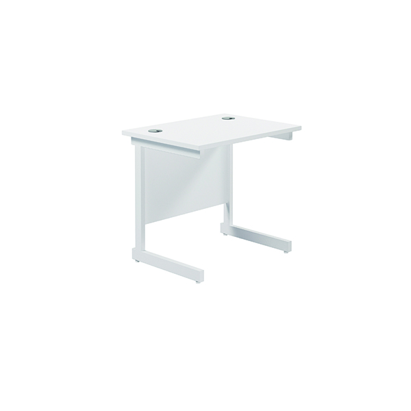 Jemini Single Rectangular Desk 800x600mm White/White