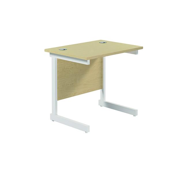 Jemini Single Rectangular Desk 800x600mm Maple/White