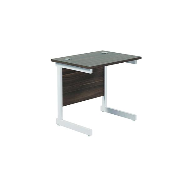 Jemini Single Rectangular Desk 800x600mm Dark Walnut/White