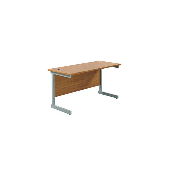 Jemini Single Rectangular Desk 1200x600mm Nova Oak/Silver