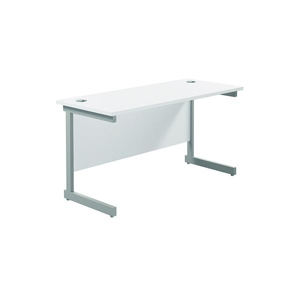 Jemini Single Rectangular Desk 1200x600mm White/Silver