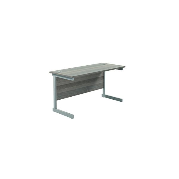Jemini Single Rectangular Desk 1400x600mm Grey Oak/Silver