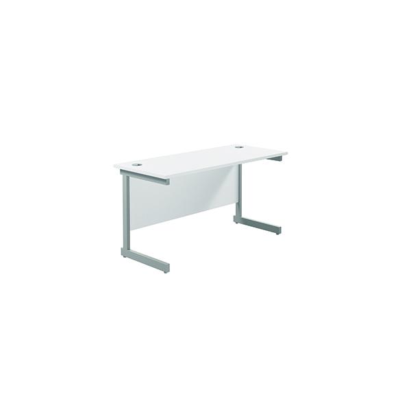Jemini Single Rectangular Desk 1400x600mm White/Silver