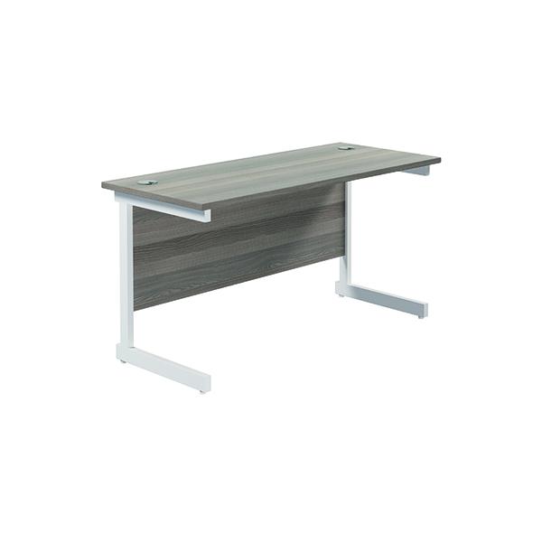 Jemini Single Rectangular Desk 1400x600mm Grey Oak/White