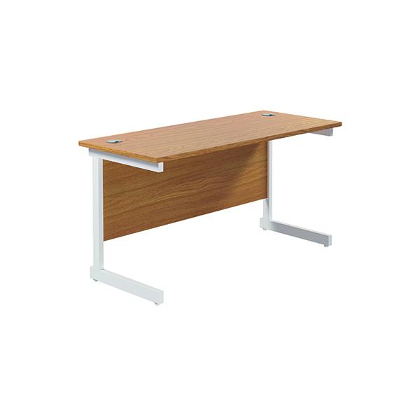 Jemini Single Rectangular Desk 1400x600mm Nova Oak/White