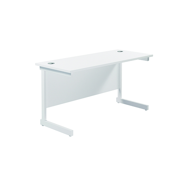 Jemini Single Rectangular Desk 1400x600mm White/White